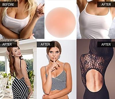 Senchanting Thin Reusable Adhesive Silicone Nipple Covers Breast Petals Pasties (3 pair round-diameter 3in)