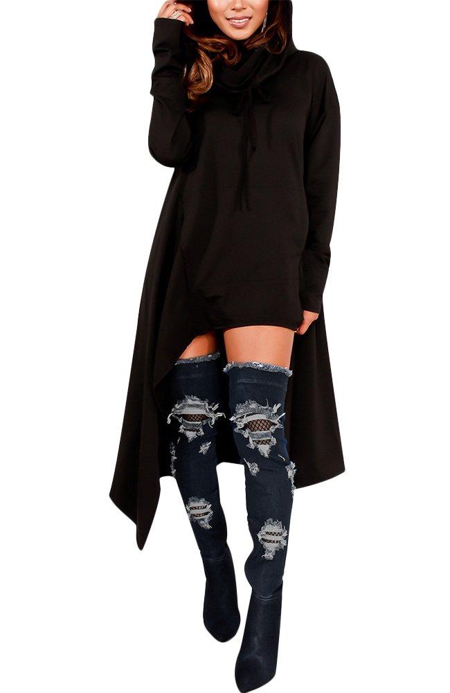 Womens Irregular Hem Loose Fitting Tops Long Sleeve Hooded Sweater Tunic Dress Black US 10