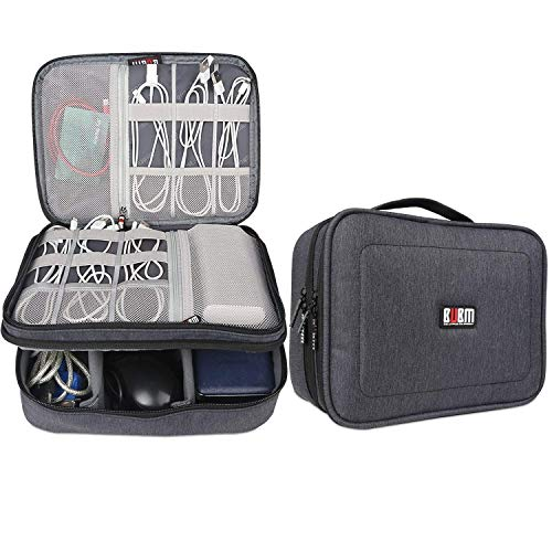 BUBM Electronic Organizer, Double Layer Travel Accessories Storage Bag for Cord, Adapter, Battery, Camera and More-a Sleeve Pouch for iPad or up to 9.7