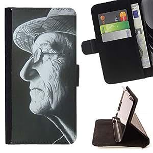 Momo Phone Case / Flip Funda de Cuero Case Cover - Sombrero del hombre Gafas Negro Blanco Retrato - Samsung Galaxy J1 J100