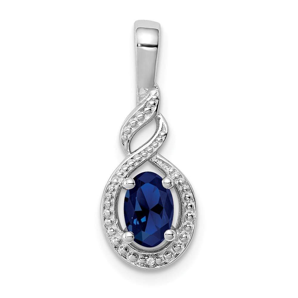 Jewel Tie Sterling Silver Simulated Sapphire /& Diamond Pendant 7mm x 13mm