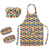 (Price/2 Sets) Opromo Colorful Cotton Canvas Kids Apron, Chef Hat and Oversleeve Set, Party Favors(S-XXL)-Grid-M