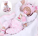 Lifelike Reborn Baby Doll Girl 22'' Realistic Soft Vinyl Silicone Handmade Weighted Pink Outfit Eyes Closed Sleeping
