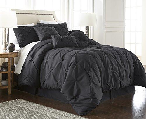 Chezmoi Collection Com Sydney 7-Piece Pintuck Bedding Comforter Set (Queen, Black)