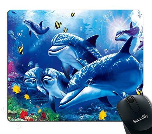 (Smooffly Blue Mouse Pad Custom,Blue Sea World Coral Dolphin Printed Mouse Pad Personality Desings Gaming Mouse Pad)