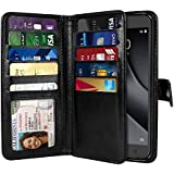 NEXTKIN Revvl Plus Case, Leather Dual Wallet Folio TPU Cover, 2 Large Pockets Double flap Privacy, Multi Card Slots Snap Button Strap For Coolpad Revvl Plus 6.0 inch 3701A - Black
