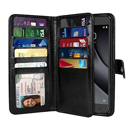 NEXTKIN Revvl Plus Case, Leather Dual Wallet TPU Cover, 2 Large Pockets Double flap, 9 Card Slots Snap Button Strap For T-Mobile Revvl Plus 6.0 inch 3701A / Coolpad Revvl Plus 6.0 inch 3701A - Black
