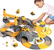 TUMAMA Construction Truck Toys Track for Boys and Girls,STEM Building Bendable Race Cars Track Set for Toddler