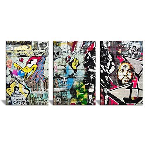 3 Panel Triptych Street Graffiti Series Woody The Woodpecker x 3 Panels