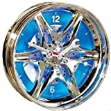 Hub Cap Wall Clock with Blue LED Lights-Man Cave Garage