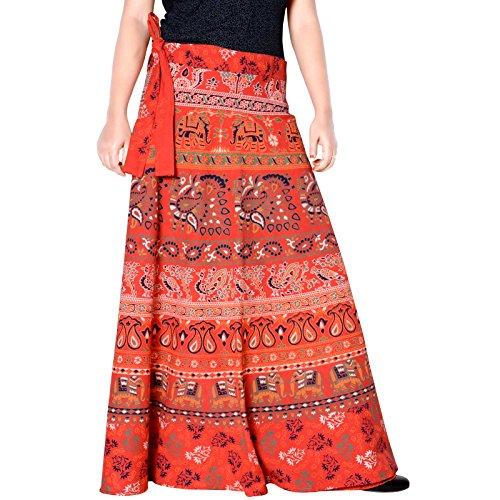 Sttoffa Vintage Style Cotton Printed Rajasthani Badmeri Wrap Around Skirt Orange Color Free Size Skirt 40 Length Skirt (Vintage Wrap Around Skirt)