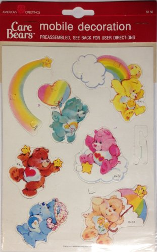 """Dated 1985 Vintage CARE BEARS Punch-Out Mobile Decoration (5 1/2"""" x 7 1/2"""")"""