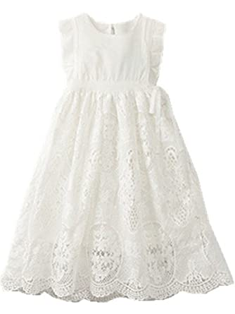 9780b4108eb Amazon.com  Bow Dream Off White Peach Vintage Lace Sleeveless Flower ...