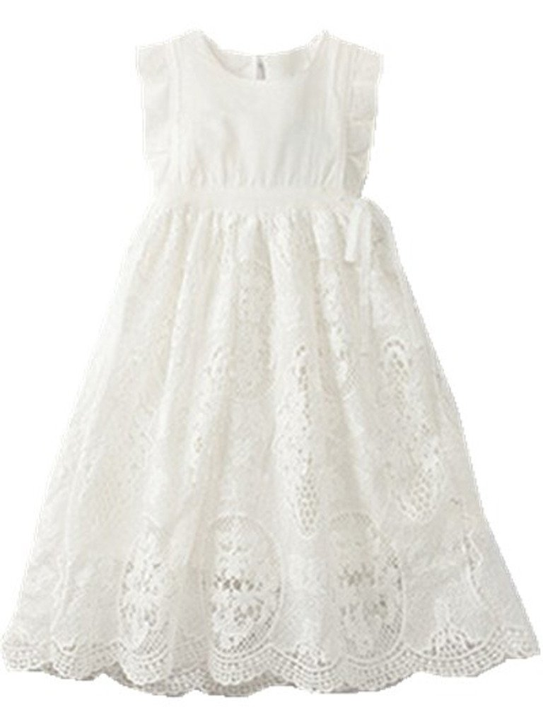 Bow Dream Flower Girl's Dress Vintage Lace Off White 10