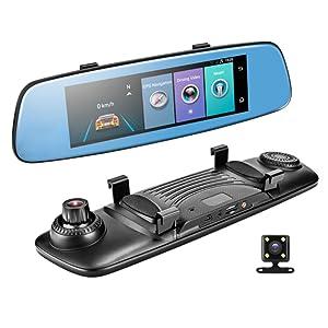 Misszhang-US 4G 7.84 Inch Monitor Smart 1080P Dual Lens Car DVR Touch Rear View Mirror Camera - Black