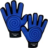Horicon Pet 3 in 1 Dog Grooming Gloves by Five Finger Pet Hair Remover Mitts For Dogs, Cats, Horses   One Pair: Left & Right Hands   Gentle Massaging Curry Brush Design for Long or Short Fur