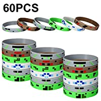 Jovitec 60 Pieces Pixelated Miner Crafting Style Character Wristband Bracelets Silicone Wristbands, Pixelated Theme Bracelet Designs for Mining Themed or Crafting Style Party Supplies (60 Pieces)