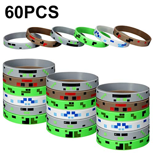 Jovitec 60 Pieces Pixelated Miner Crafting Style Character Wristband Bracelets Silicone Wristbands, Pixelated Theme Bracelet Designs for Mining Themed or Crafting Style Party Supplies (60 Pieces) (Supplies Party Mining)