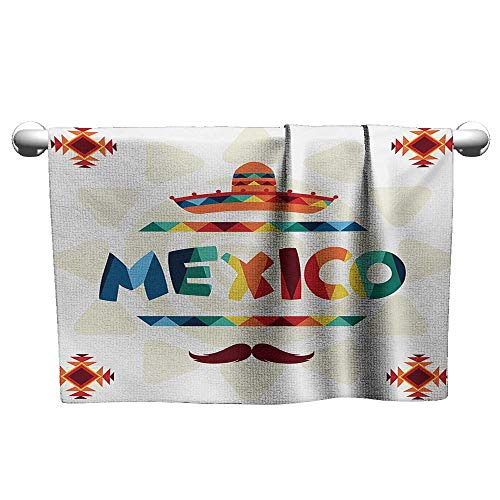 Personalized Hand Towels Mexican,Mexico Traditional Aztec Motifs and Sombrero Straw Hat and Moustache Graphic Print,Multicolor,Tacky Towel for Tennis