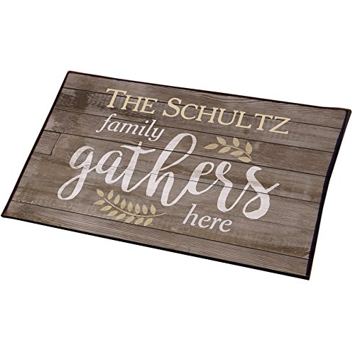 "GiftsForYouNow Water-Resistant Family Gathers Here Personalized Doormat, 18"" x 30"" (Family Personalized Doormats)"