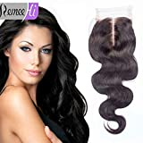 "Remeehi 4""*4"" Body Wave Lace Frontal Closure 100% Brazilian Virgin Human Hair Extension (8"" 1# Jet Black)"
