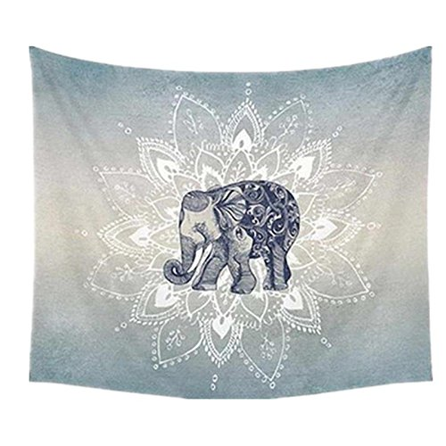 Wall Hanging Throw Blanket - Katoot@ Polyester Indian Mandala Elephant Tapestry Wall Hanging Throw Blanket Mat Beach Towel Home Bedroom Bedspread Dorm Cover (Grey)