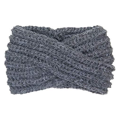 (Me Plus Women's Winter Knitted Headband Ear Warmer Head Wrap (3 Styles Flower/Twisted/Checkered) (Dark Grey))
