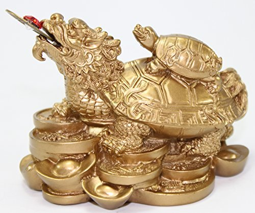 Feng Shui Gold Dragon Turtle Wealth Protection