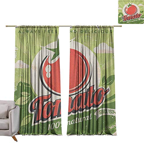 berrly Drapes for Dining Room Vintage,Vintage Tomato Poster with an Antique Paper Print in Contemporary Graphic Design, Green Red W96 x L108 Art Room Curtains