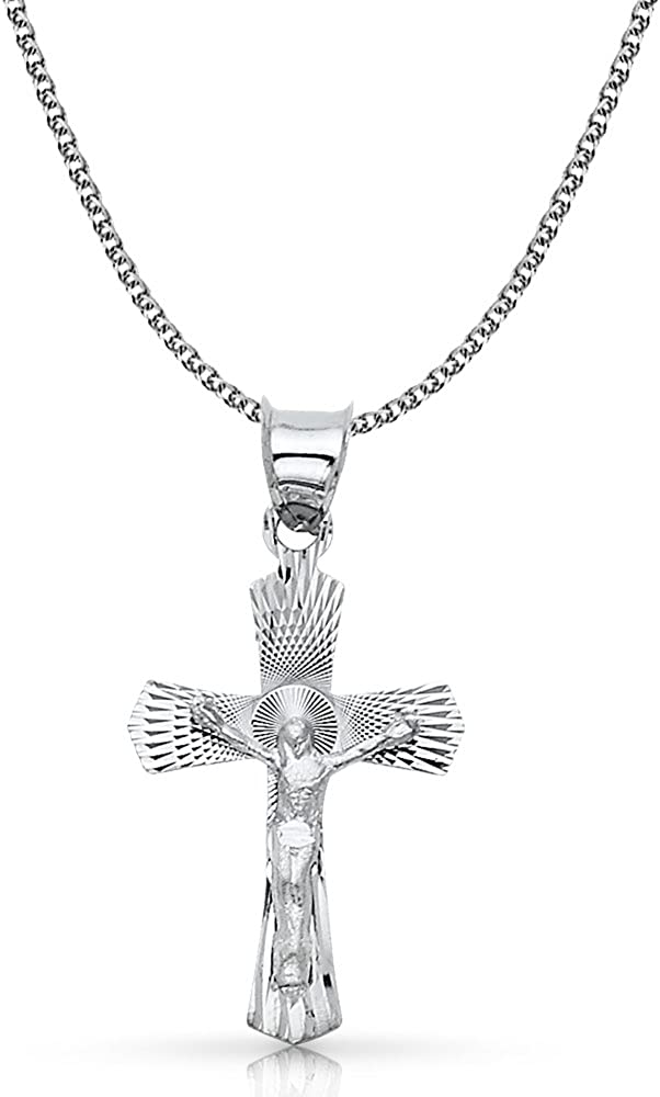 14K White Gold Crucifix Stamp Charm Pendant with 1.7mm Flat Open Wheat Chain Necklace