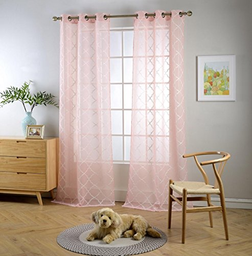 """Miuco Sheer Curtains Embroidered Trellis Design Grommet Curtains 63 Inches Long for Living Room 2 Panels (2 x 37"""" Wide x 63"""" Long) Pink"""