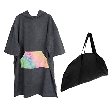 Prettyia Microfiber Surf Beach Hooded Poncho Water-Absorbing Quick Dry Bathrobe Wetsuit Changing Robe//Towel with Large Front Poccket