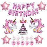 Unicorn Birthday Party Supplies, Happy Birthday Decoration Set With Birthday Cake Five-Star Foil Balloon Pink And White Latex Balloons, Full Birthday Set 32PCS For Unicorn Birthday Party