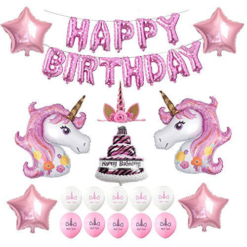 Unicorn Birthday Party Supplies, Happy Birthday Decoration Set With Birthday Cake Five-Star Foil Balloon Pink And White Latex Balloons, Full Birthday Set 32PCS For Unicorn Birthday Party by Welliboom
