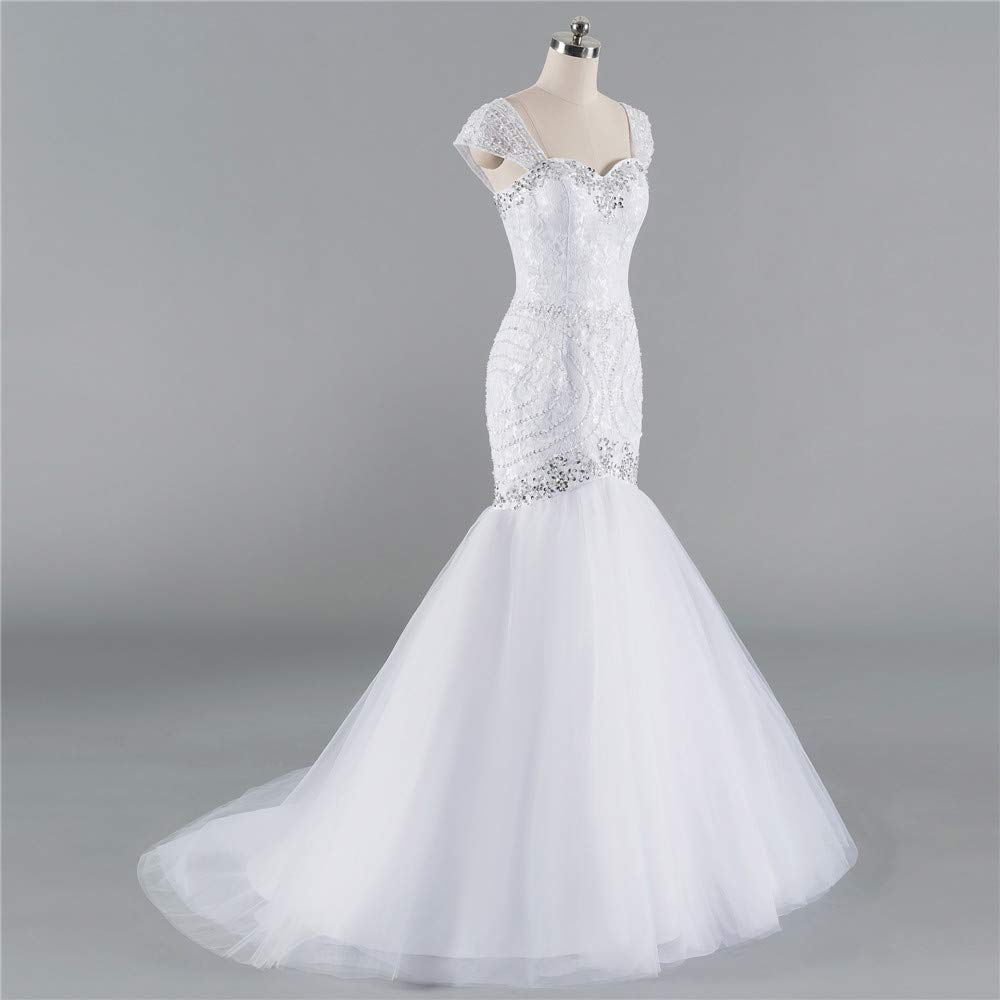 aeb7b669c97 Amazon.com  Tulle and Lace Mermaid Wedding Dresses Cap Sleeve Bridal  Reception Gowns with Beads  Handmade