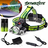 UMFun 10000 Lumen Headlamp XM-L 3 x T6 LED Headlight 18650 Light Charger Battery