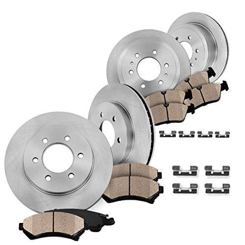 FRONT 350 mm + REAR 348 mm Premium OE 6 Lug [4] Rotors + [8] Quiet Low Dust Ceramic Brake Pads + Clips