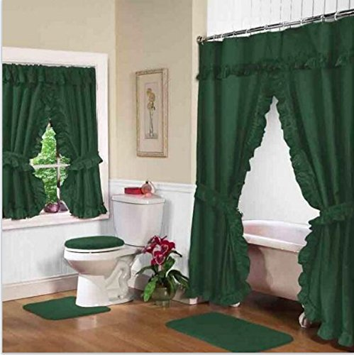 Home Fashions Hunter Green Double Swag Shower and Window Curtain Set with liner