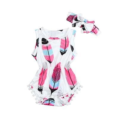 JUNKE Baby Girls Fashion Cute Sleeveless Feather Print Tassel O-Neck Jumpsuit+ Bowtie Headband 2PCS