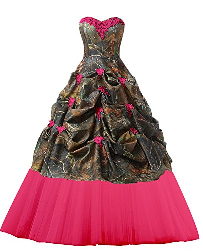 PrettyWish Women's Sweetheart Ball Gown Appliques Camouflage Wedding Dresses For Bride Camo-Hot Pink us8