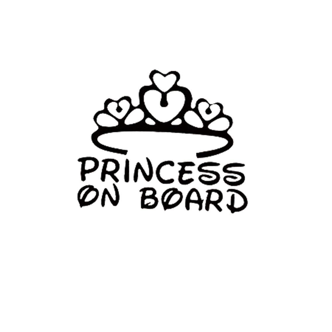 Mazur Etiqueta engomada del Coche Princesa a Bordo del Coche Parachoques Ventana de Advertencia de Seguridad Sticker Auto Car Styling Decoración (Negro)