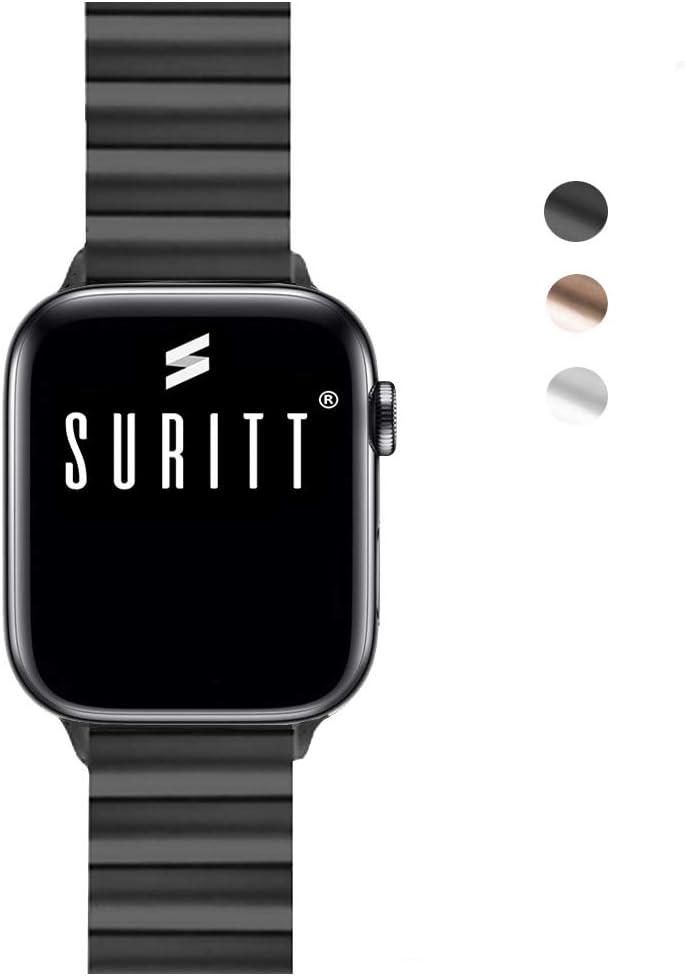 Suritt ® Correa para Apple Watch de eslabones Fabricada en Acero Inoxidable Berlin (Negro - Plata - Oro)(Series 1, 2, 3, 4 y 5)(42mm / 44mm, Black)