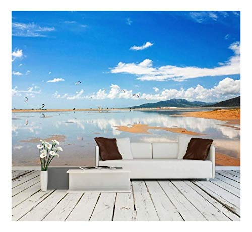 wall26 - Tarifa Beach in Spain Packed with Kitesurfers - Removable Wall Mural | Self-Adhesive Large Wallpaper - 66x96 inches
