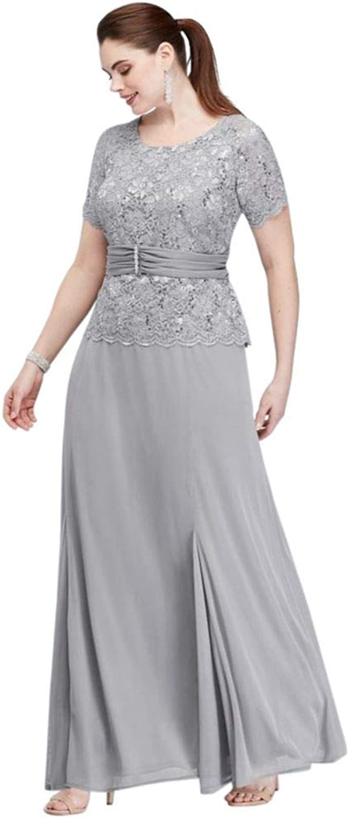 Chiffon Short-Sleeve Lace Plus Size Mother of Bride/Groom ...