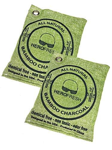 HeroGlobal Breathe Green Charcoal Bags, Air Freshener, 2 Pack 200g, Natural Odor Eliminator, Bamboo Charcoal Air Purifying Bags, Scent Absorber, Odor Eliminators for Home, Car Air Freshener