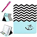 iPad 2/3/4 Case, iPad 4 Leather Case, JCmax Protective Cover [Card Slots] [Durable Cover] Flip Premium Foldable New Book Style PU Leather Wallet Kickstand Case Smart Cover Skin Protection For Apple iPad 2 / iPad 3 / iPad 4, Come with One Stylus - [Anchor Pattern Design]