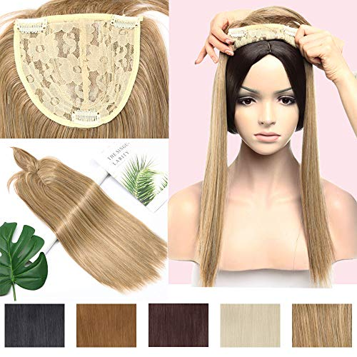- Straight Clip in Crown Topper with Wispy Thin Bangs for Women Highlighted Synthetic Middle Part Top Toupee Hairpiece for Hair Loss Thinning Hair 17 Inch 3 Tones Strawberry/Natural/Bleach Blonde Mix