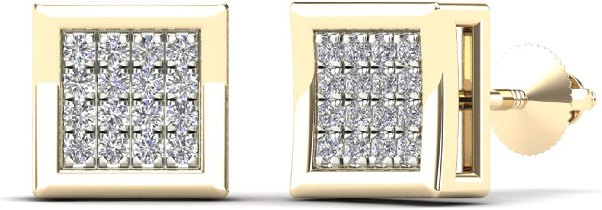 H-I, I1-I2 JewelAngel 14K Yellow Gold 1//10ct TDW Diamond Square Stud Earrings