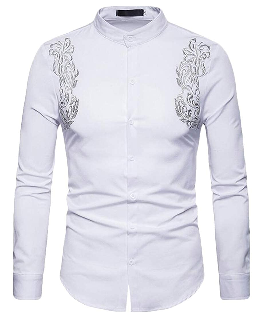 CRYYU Men Plain Buttons Loose Fit Embroidery Long Sleeve Casual Formal Stand Collar Shirt