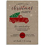 Christmas Party Invitations, A Merry Little Christmas Party, Tan, Red, Green, Black, Printed Burlap, Snowflakes, Holiday Party, Christmas Party, Set of 10 Custom Printed Invites